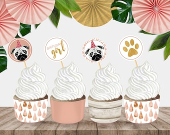 """Printable """"Party Pug"""" Cupcake Wrappers and Party Circles"""