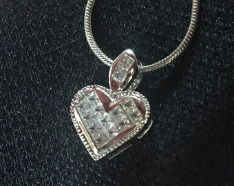 """Sale!!! Lovely Sterling Heart Pendant with CZs & 18"""" 925 Chain!"""