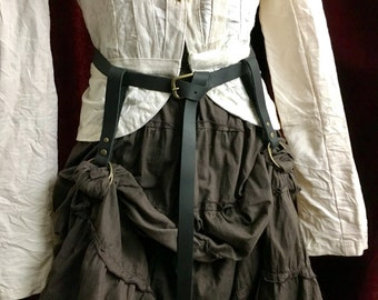 Skirt hikes / skirt lifts/ leather & antique brass. Steampunk skirt raisers /lifters (belt not included)  Black or brown leather, O rings