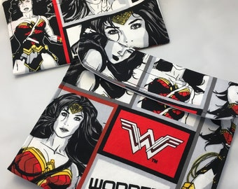 Wonder Woman Comic Reusable Sandwich Bag, Reusable Snack Bag