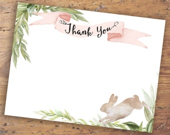 Printable Pink Bunny Thank You Note- Companion to Bunny Baby Shower Invitation- Watercolor Notecard Design, Instant Download