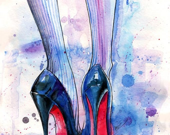 Louboutin in the rain Archival Art Print Watercolor fashion Illustration Sexy Legs Chic High heels Shoes Trendy Wall Art Home decor Style