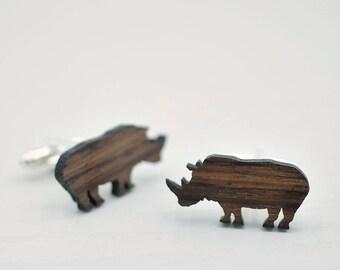 RHINO Cufflinks - Men's Gifts - Handmade Wooden Cuff Links - Wood Cufflinks for Him - Wood Cufflink Set - Handmade Cufflinks