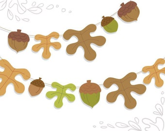 Printable Woodland Acorns and Oak Leaves Garland, PDF Digital Download for parties, baby showers and more