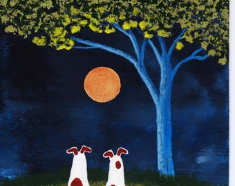 Jack Russell Terrier Parson Dog original art painting by Todd Young SPRING FULL MOON