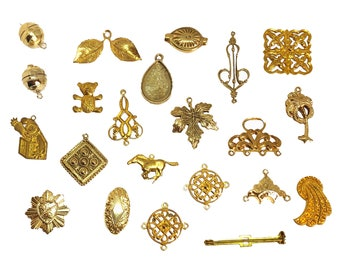 Assorted Vintage Brass Findings And Stampings, Over 20 Pieces, Jewelry Making, Raw Brass, B'sue Boutiques, Item06921