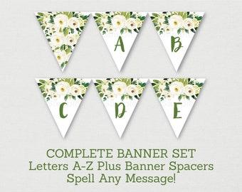 Green & White Floral Bridal Shower Banner / Floral Bridal Shower / Greenery Bridal Shower / Letters A-Z / INSTANT DOWNLOAD B130