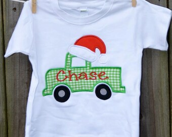 Truck with Santa Hat Applique Shirt or Bodysuit Boy or Girl