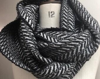 Herringbone Infinity Scarf - Black & White Wool Infinity Scarf - Chunky Scarf - Black Infinity Scarf Mens Winter Hooded Scarf - Made in UK
