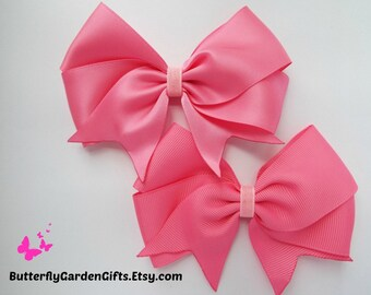 Hot pink satin or grosgrain tail down boutiqe hair bow clip