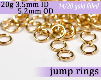 20g 3.5mm ID 5.2mm OD gold filled jump rings -- 20g3.50 goldfill jumprings 14k goldfilled