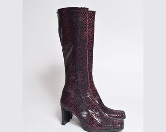 Vintage 90's Pink / Red and Black Snakeskin Chunky Heel Boots Sock Boots