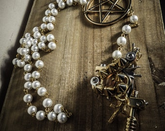 Chaplet Rosary pearls ivory Golden Spiky Tattoo Gun 666 666