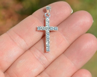 1 Bright Silver Plated and Rhinestone Cross Charm SC3345