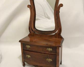 "Dollhouse Miniature 1"" Dresser with Mirror"