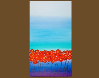 Textured Impasto Painting Happy Poppies by QIQIGALLERY 12x24