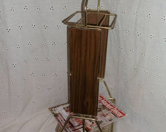 Great Mid Century Modern Brass and Wood Umbrella Stand or Holder Umbrella Rack