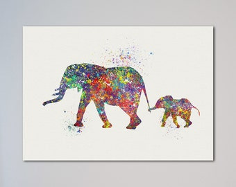 Elephant Family Watercolor Poster Print Mom and Baby Elephant Picture Love Gift