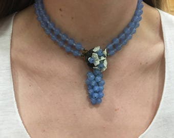 Vintage blue glass necklace/ choker with unique clasp and flowers