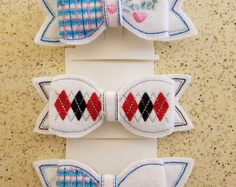 Patterned Hair Bow Barrettes