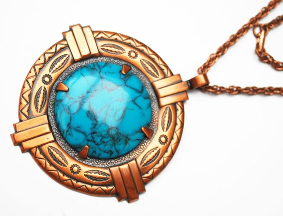 Copper pendant necklace - Faux Turquoise - Bell Trading Post Company - tribal Southwest - Boho