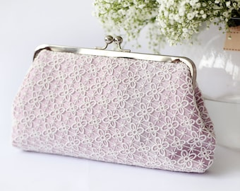 Lilac Lace Bridal Clutch | Four Leaves Lace Bag - QUATREFOIL