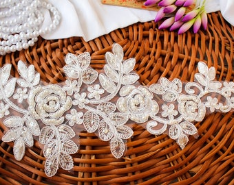 White Organza Appliques, Embroidered Floral Appliques, Floral Embellishments, Bridal Appliques, Pearl Appliques