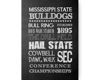 Mississippi State University Bulldogs Chalkboard Poster Digital Download