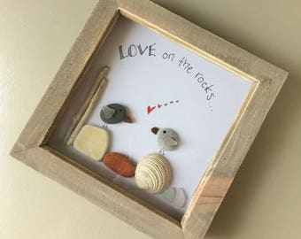 Love on the rocks framed handmade picture, driftwood, seaglass, beach finds, unique, gift, collectable