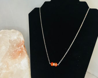 Chain link orange glass beaded 3 charm necklace