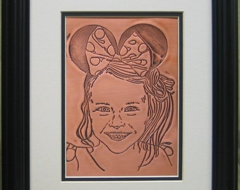 """Custom child portrait hand drawn by the artist and engraved on copper, 10"""" x 13"""""""