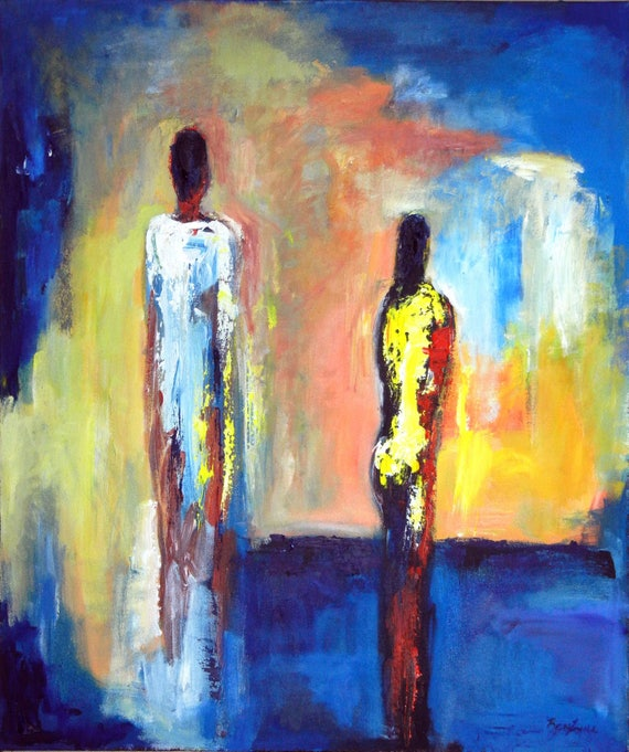 Abstract Realism Original Painting Figures Blue and Yellow Modern Art by BenWill
