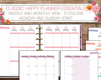 Happy planner printable weekly and monthly planner inserts -  PDF 7 x 9.25 Classic Happy Planner