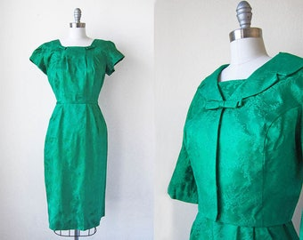 1960s vintage kelly green brocade wiggle bow bolero jacket fitted ribbon waist 3/4 sleeve dress set m