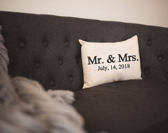 Personalized pillow, Christmas gift, Wedding pillow, Valentine gift idea, Mr  Mrs. pillow, Anniversary Pillow