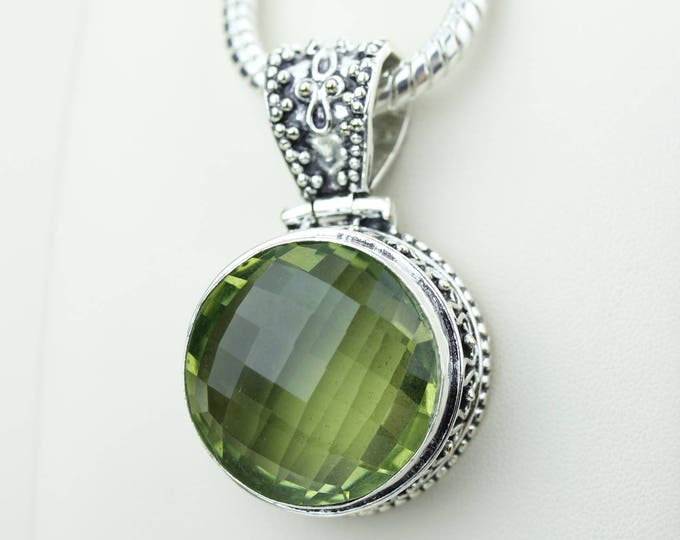 Vintage Setting Round Shapped Green Amethyst 925 S0LID Sterling Silver Pendant + 4MM Snake Chain & Worldwide Shipping p4223