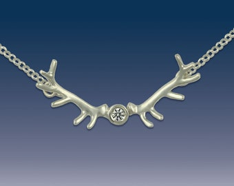Elk Antler Pendant Necklace - Sterling Silver and Crystal
