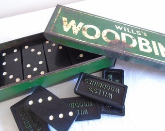 will's woodbine vintage dominoes in tin box