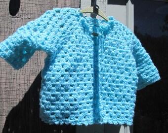Baby Sweater Aqua  Hand Crocheted