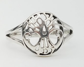 Vintage Sterling Silver Tree of Life Ring - Size 8