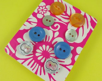 Button Earrings - set of four pairs of studs - plastic buttons, shell buttons - orange blue silver iridescent - cute kitsch novelty Harajuku