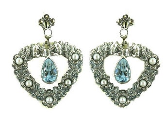 "Vintage heart earrings with genuine blue topaz // FWL#407"""
