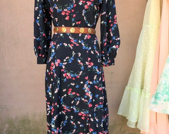1930s Floral Bias Cut Rayon Day Dress - Silky Soft!