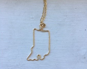 Indiana necklace, state outline, state necklace