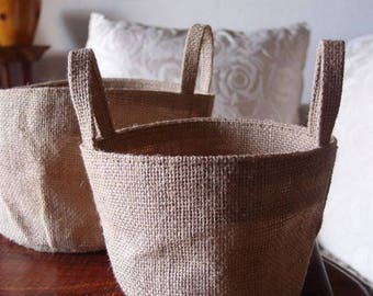 Round Burlap Jute Baskets Planter Gusetted Bag with Liner and Handles for Pots - ONE - Choose Size