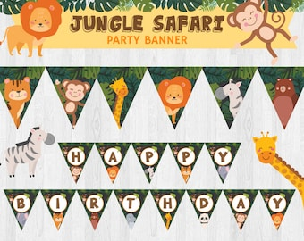 Animal Zoo/ Jungle Safari/ Animal Safari EDITABLE Birthday Party Banner/ Party Bunting/ Party Sign Printable