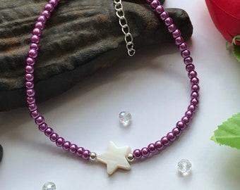 Purple Anklet, Star Anklet, Purple Star Anklet, Purple Bead Anklet, Purple Beaded Anklet, Purple Ankle Bracelet, Mother of Pearl Anklet