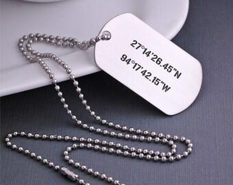 Custom Dog Tag Necklace, Christmas Gift, Men's Latitude Longitude Jewelry, Custom GPS Coordinates Gift for Men, Husband Necklace Dog Tags