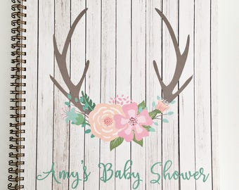 Baby Shower Journal and Guest Book, baby shower keepsake and gift record, personalization available.