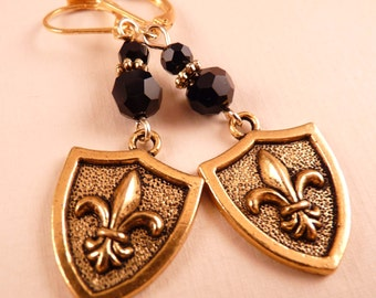 Fleur de Lis Earrings Gold Shield Fleur de lis Jewelry Gold Jewelry Beaded Jewelry New Orleans Saints Beaded Earrings Metal Earrings